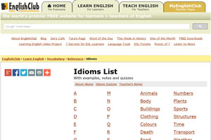 На сайте Englishclub идиомы разбиты по темам и по алфавиту