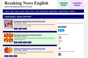 Ресурс Breaking News English предлагает не только читать новости на английском, но и выполнять упражнения после прочтения