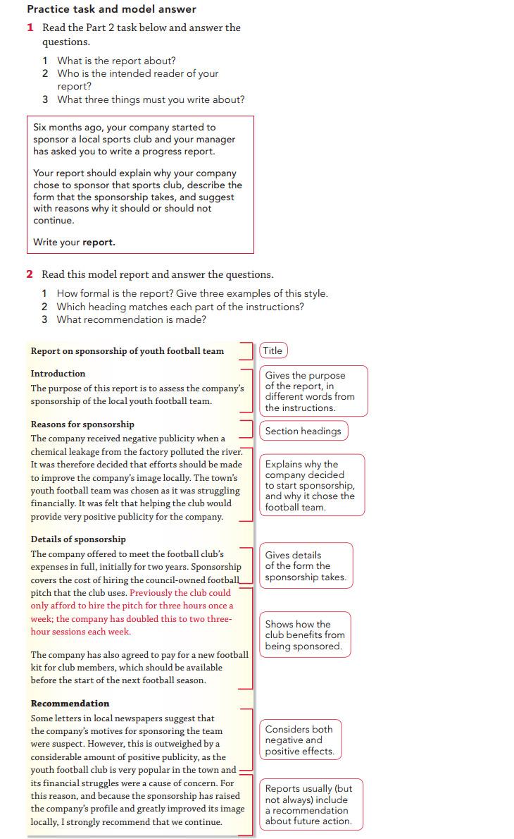 Пример отчета для экзамена CAE